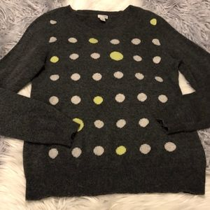 Halogen Grey 100% Cashmere Polka Dot Sweater